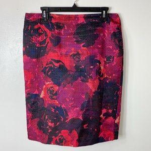 Ann Taylor Pink Purple Textured Pencil Skirt 10